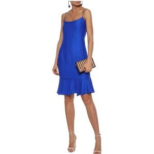 Milly Fluted Crepe de Chine Dress in Cobalt